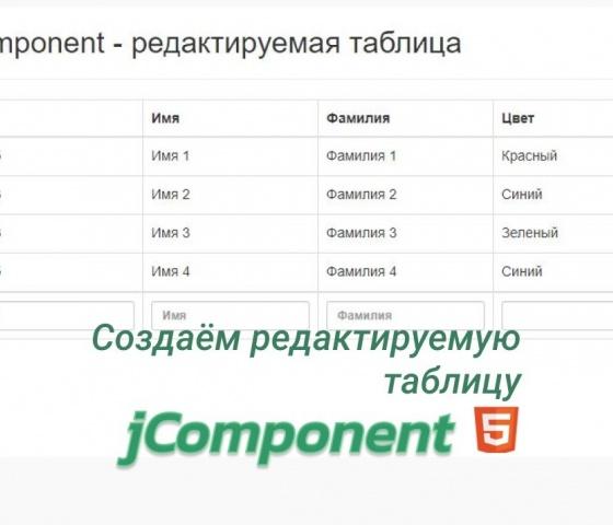 jComponent - Редактируемая таблица